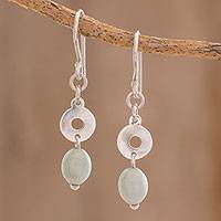 Jade dangle earrings, 'Ancestral Rings' - Circular Apple Green Jade Dangle Earrings from Guatemala