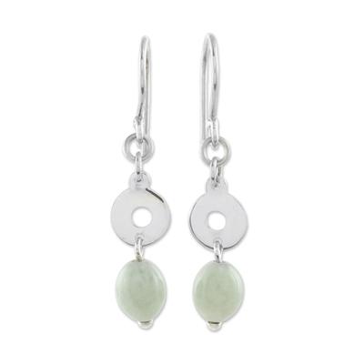 Jade dangle earrings, 'Ancestral Rings' - Circular Apple Green Jade Dangle Earrings from Guatemala