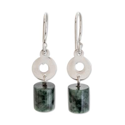 Cylindrical Jade Dangle Earrings Crafted in Guatemala