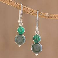 Jade and malachite dangle earrings, 'Guatemalan Jungles' - Jade and Malachite Dangle Earrings Crafted in Guatemala
