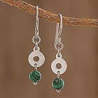 Malachite dangle earrings, 'Green Rings' - Circular Malachite Dangle Earrings Crafted in Guatemala