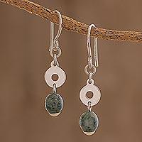 Jade dangle earrings, 'Garden Rings' - Circular Green Jade Dangle Earrings from Guatemala