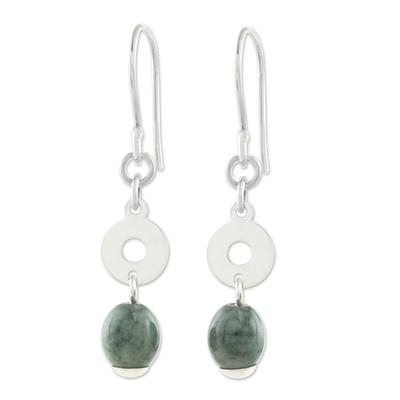 Circular Green Jade Dangle Earrings from Guatemala