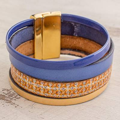Faux leather wristband bracelet, 'Afternoon Chic' - Blue and Golden Beige Faux Leather Wristband Bracelet