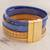 Faux leather wristband bracelet, 'Afternoon Chic' - Blue and Golden Beige Faux Leather Wristband Bracelet (image 2b) thumbail