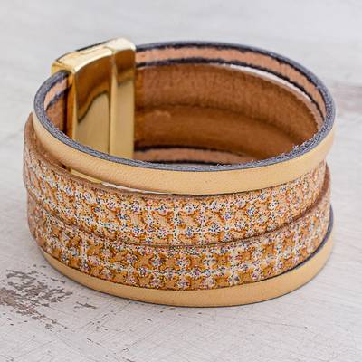 Faux leather wristband bracelet, 'Neutral Splash' - Golden Beige Four Band Faux Leather Wristband Bracelet