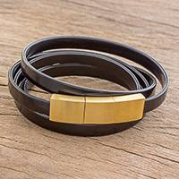 Faux leather wrap bracelet, 'Wrapped in Night' - Handcrafted Black Faux Leather Wrap Bracelet