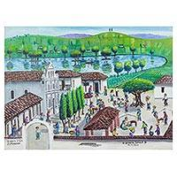'From North to South' - Folk Art Painting of San Antonio Ilotenango from Guatemala