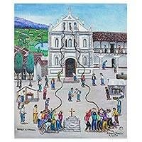'Ringing of the Bells' - Signed Cultural Folk Art Painting from Guatemala