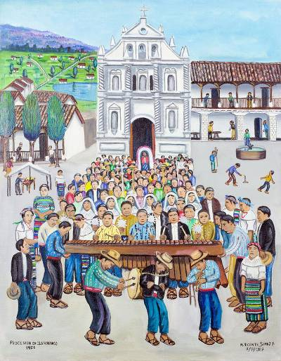 'Procession in Ilotenango' - Folk Art Painting of a Cultural Procession from Guatemala
