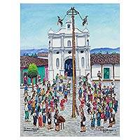 'The Flying Pole in Chichicastenango' - Folk Art Painting of a Cultural Festival from Guatemala