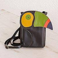 Leather sling handbag, 'Toucan Take-Along' - Black Leather Sling Handbag with Colorful Toucan Detail