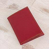Leather wallet, 'Distinguished' - Hand Cut and Stitched Aurora Red Tri-Fold Leather Wallet
