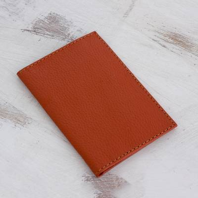 Leather wallet, 'Simplicity' - Hand Cut and Stitched Terracotta Bi-Fold Leather Wallet
