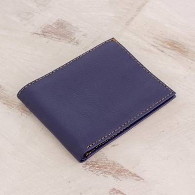 Leather wallet, 'Essential' - Hand Cut and Stitched Midnight Blue Bi-Fold Leather Wallet