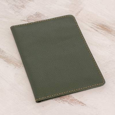 Leather passport holder, 'Journeys' - Hand Cut and Stitched Forest Green Leather Passport Cover