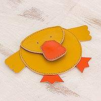 Leather coin purse, 'Duckling' - Hand Cut and Stitched Yellow Leather Duck Coin Purse