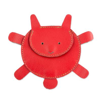 Hand Cut and Stitched Red Leather Bunny Coin Purse
