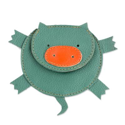 Hand Cut and Stitched Green Leather Piglet Coin Purse