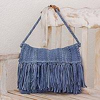 Recycled cotton blend shoulder bag, 'Casual Ease' - Recycled Cotton Blend Handwoven Cadet Blue Fringed Handbag