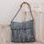 Recycled cotton blend shoulder bag, 'Woven Clouds' - Recycled Cotton Blend Handwoven Grey Fringed Handbag thumbail
