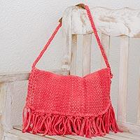 Recycled cotton blend shoulder bag, 'Woven Sunrise' - Recycled Cotton Blend Handwoven Bright Pink Fringed Handbag