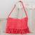 Recycled cotton blend shoulder bag, 'Woven Sunrise' - Recycled Cotton Blend Handwoven Bright Pink Fringed Handbag thumbail