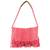 Recycled cotton blend shoulder bag, 'Woven Sunrise' - Recycled Cotton Blend Handwoven Bright Pink Fringed Handbag (image 2a) thumbail