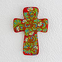 Wood wall cross, 'Faith Blossoms' - Handpainted Multi-Color Floral on Red Wood Cross Wall Art