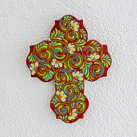 Wood wall cross, 'Faith's Garden' - Handpainted Floral on Red Trefoil Wood Cross Wall Art