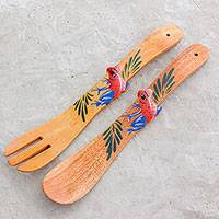Wood salad servers, 'Long Frog Friends' (pair) - Cedar Hand Painted Frog Long-Handled Serving Utensils (Pair)