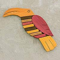 Wood trivet, 'Forest Friend' - Yellow and Red Wood Toucan-Shaped Trivet