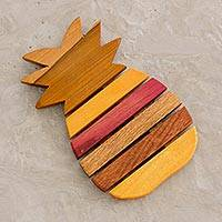 Wood trivet, 'Hospitality' - Yellow and Red Wood Pineapple-Shaped Trivet