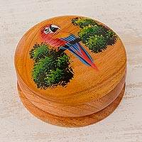 Cedar decorative box, 'Jungle Perch' - Cedar Round Lidded Decorative Box with Hand Painted Parrot