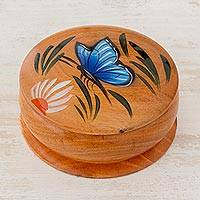 Cedar decorative box, 'Daisy Friend' (4 inch) - Round Cedar Decorative Box with Hand Painted Butterfly