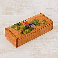 Cedar decorative box, 'Merry Macaw' - Rectangular Hand Painted Macaw Cedar Decorative Box