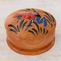 Cedar decorative box, 'Treacherous Beauty' - Round Cedar Mini Decorative Box with Hand Painted Dart Frog
