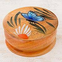 Cedar decorative box, 'Daisy Friend' (3 inch) - Round Cedar Mini Decorative Box with Hand Painted Butterfly