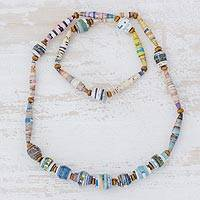 Recycled paper beaded necklace, 'New Spin' - Handcrafted Multicolor Recycled Paper Bead Long Necklace