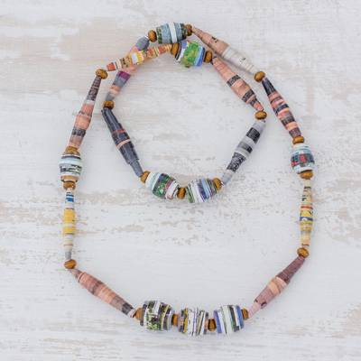 Recycled paper beaded necklace, 'Rejuvenate' - Handcrafted Colorful Recycled Paper Bead Long Necklace