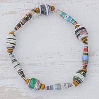 Recycled paper beaded stretch bracelet, 'Renew' - Handcrafted Multicolor Recycled Paper Bead Stretch Bracelet