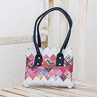 Recycled magazine shoulder bag, 'Modern Bouquet' - Handcrafted Pink Recycled Magazine Paper Shoulder Bag