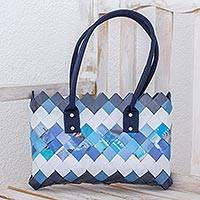 Recycled magazine shoulder bag, 'Modern Waves' - Handcrafted Blue Recycled Magazine Paper Shoulder Bag