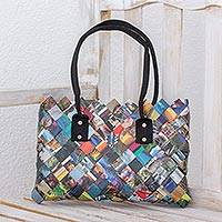 Recycled magazine shoulder bag, 'Paparazzi' - Handcrafted Colorful Recycled Magazine Paper Shoulder Bag