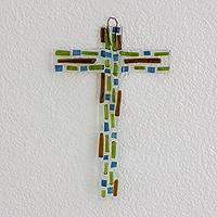 Recycled glass cross, 'Enduring Faith' - Clear with Green and Blue Recycled Glass Art Cross