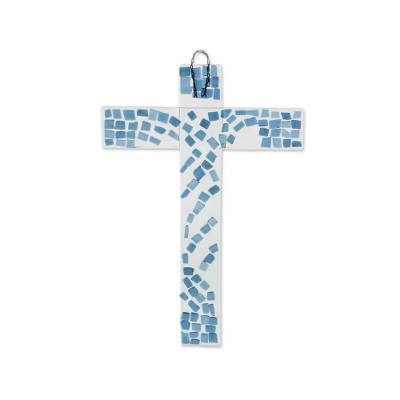 Clear and Blue Recycled Bottle Glass Art Cross for Wall
