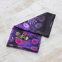 Handkerchief, 'Beauty and Bliss' - Printed Handkerchief with Purple Floral Print