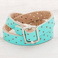 Leather wrap bracelet, 'Bold Illusion in Aqua' - Aqua Leather Wrap Bracelet from Costa Rica