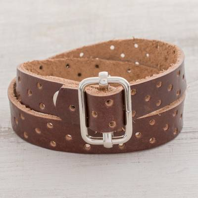 Recycled leather wristband bracelet, 'Bold Illusion in Mahogany' - Brown Recycled Leather Wristband Bracelet from Costa Rica