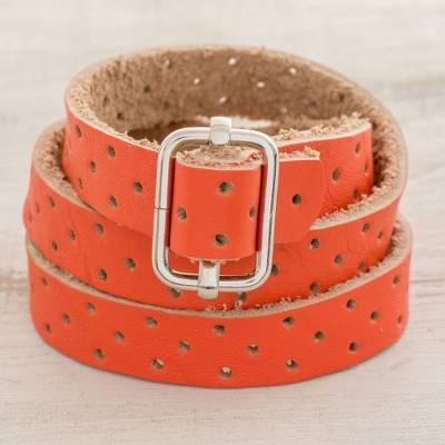 Recycled leather wrap bracelet, 'Bold Illusion in Flame' - Orange Leather Wrap Bracelet from Costa Rica